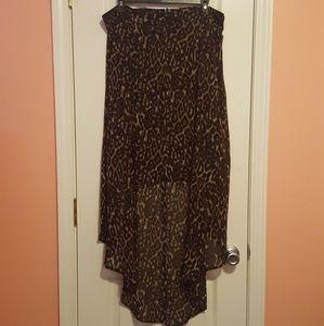 Torrid leopard print high-low skirt, size 12